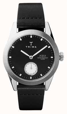 Triwa Slate aska cadran noir boîtier en acier inoxydable en cuir noir AKST107-SS010212