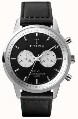 Triwa Slate nevil chronographe cadran noir bracelet en cuir noir NEST118-SC010112