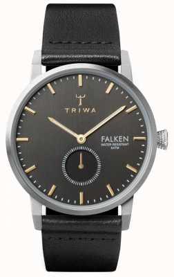 Triwa Smoky falken cadran gris boîtier en acier inoxydable bracelet en cuir FAST119-CL010112
