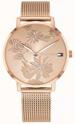 Tommy Hilfiger Pippa - Montre à motif floral en or rose et or rose 1781922