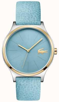 Lacoste Cadran bleu ciel deux tons bracelet en cuir bleu 2001012