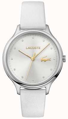 Lacoste Mesdames constance crystal set cadran argenté bracelet en cuir blanc 2001005
