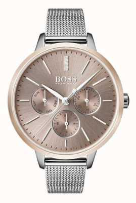 Hugo Boss Montre de jour et de date symphonie noire avec bracelet en or rose 1502423
