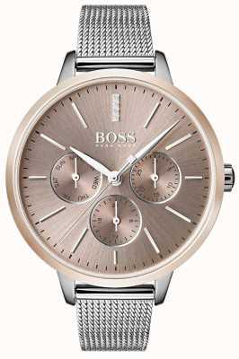 Boss Bracelet jour et date en or rose avec bracelet symphonique noir 1502423