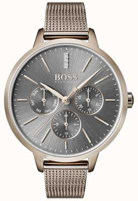 BOSS Bracelet Mesh jour et date en cadran gris Symphony 1502424