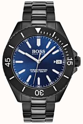 Hugo Boss Océan édition bleu cadran date affichage noir IP bracelet 1513559
