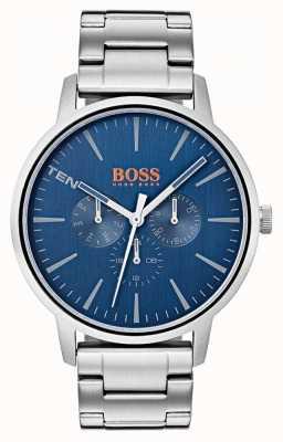Hugo Boss Orange Bracelet cadran bleu en acier inoxydable jour et date 1550067