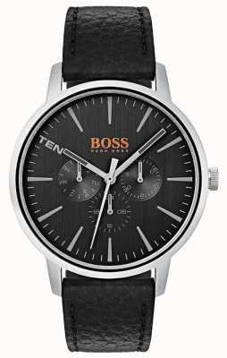 Hugo Boss Orange Cadran noir jour et date sous cadrans bracelet en cuir noir 1550065