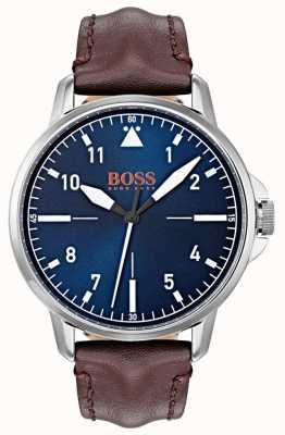 Hugo Boss Orange Marqueurs blancs cadran blanc Marron foncé bracelet en cuir véritable 1550060