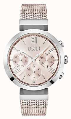 Hugo Boss Chronographe cadran rose jour et date sous cadrans 1502426