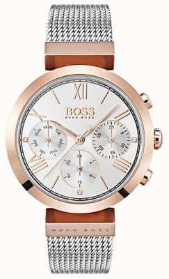 Boss Cadran argenté affichage jour et date bracelet maille chiffres romains 1502427