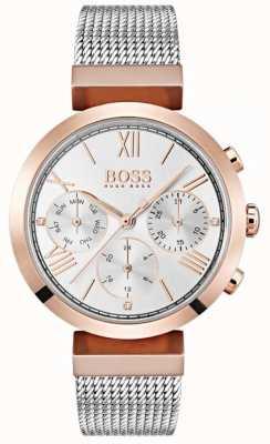 BOSS Cadran argenté affichage jour et date bracelet en maille chiffres romains 1502427