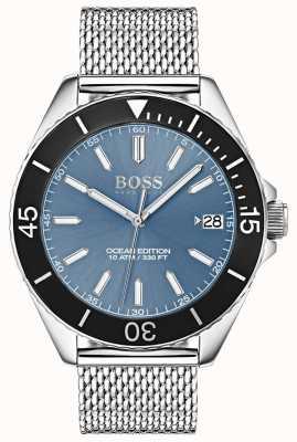 Hugo Boss Cadran bleu clair lunette noire océan édition maille sangle 1513561