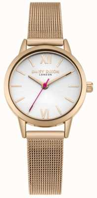 Daisy Dixon Nous vivons la mode cadran blanc bracelet en maille d'or rose DD069RGM