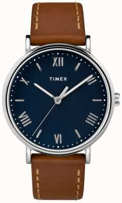 Timex Mens watch sudview 41mm bracelet en cuir beige cadran bleu TW2R63900D7PF