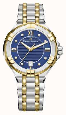 Maurice Lacroix Womens aikon 35mm deux tons en acier inoxydable cadran bleu AI1006-PVY13-450-1