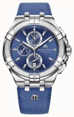 Maurice Lacroix Mens aikon denim-look bracelet chrono date AI1018-SS001-431-1