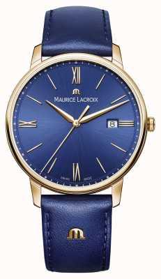 Maurice Lacroix Boîtier plaqué or eliros cadran bleu bracelet en cuir EL1118-PVP01-411-1