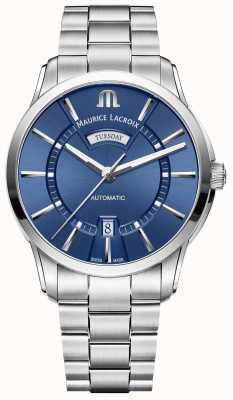 Maurice Lacroix Bracelet en acier inoxydable à cadran bleu Pontos pour homme PT6358-SS002-430-1