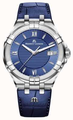 Maurice Lacroix Aikon mens cadran bleu bracelet en cuir bleu AI1008-SS001-430-1