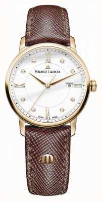Maurice Lacroix Womens eliros bracelet en cuir marron plaqué or EL1094-PVP01-150-1