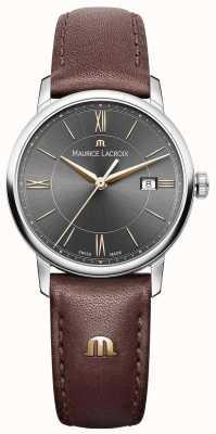 Maurice Lacroix Bracelet en cuir marron Eliros pour femme Cadran noir Accents dorés EL1094-SS001-311-1