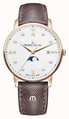 Maurice Lacroix Bracelet en cuir marron Eliros Moonphase plaqué or rose EL1096-PVP01-150-1