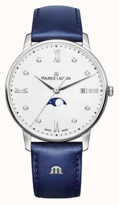 Maurice Lacroix Eliros moonphase bracelet en cuir bleu cadran argenté EL1096-SS001-150-1
