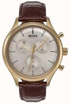 Hugo Boss Montre chronographe compagnon pour homme bracelet en cuir marron 1513545