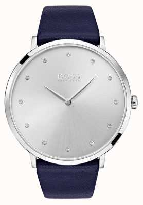 Hugo Boss Womens jillian montre bracelet en cuir bleu 1502410