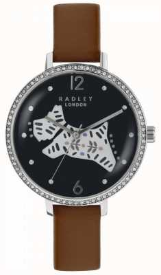 Radley Womens folk dog watch cadran noir bracelet en cuir marron RY2585