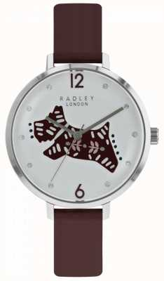 Radley Womens folk dog watch cadran argenté bracelet en cuir de baies RY2581