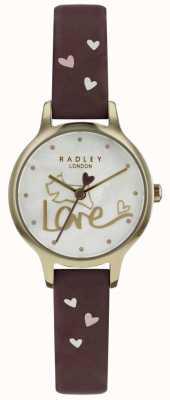 Radley Womens amour montre bracelet en cuir plaqué or RY2578