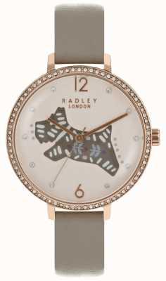 Radley Montre pour chien folklorique Womens rose cadran bracelet en cuir gris RY2586