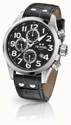 TW Steel Volante 48mm chronographe bracelet en cuir noir VS54