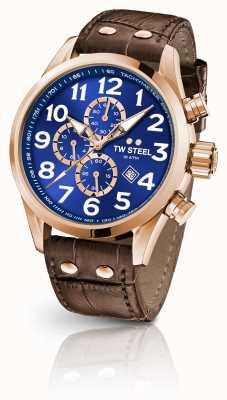 TW Steel Volante 45mm chronographe bracelet en cuir marron cadran bleu VS83