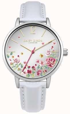 Daisy Dixon Womens bracelet en cuir blanc cadran floral argenté DD073WS