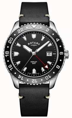 Rotary Mens henley gmt bracelet en cuir noir cadran noir GS05108/04