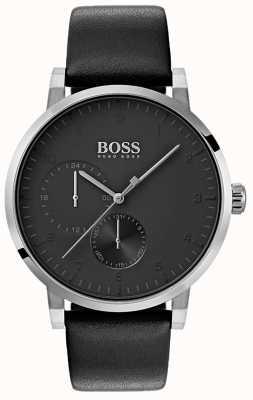 Hugo Boss Montre à bracelet en cuir pour homme tout en noir montre bracelet soleil 1513594