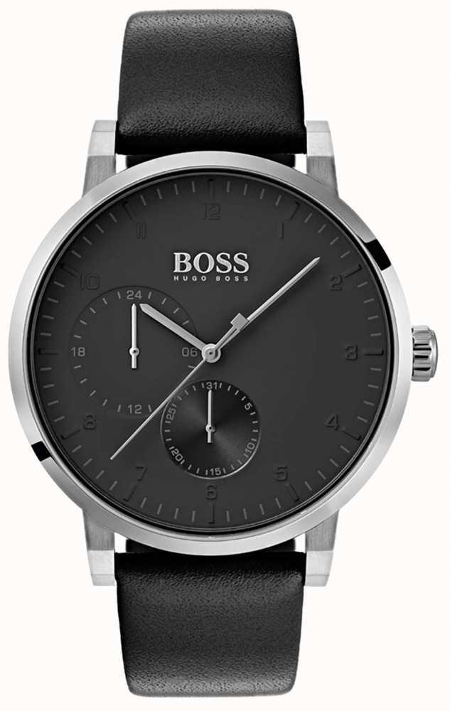 4e7dc8da31 Hugo Boss Montre à Bracelet En Cuir Pour Homme Tout En Noir Montre ...