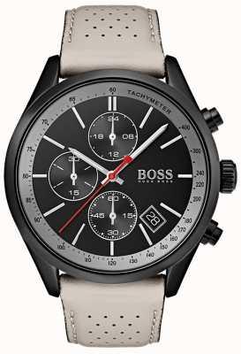 Boss Montre homme grand-prix noir chronographe bracelet en cuir gris 1513562