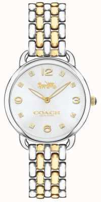 Coach Womens delancey slim deux tons bracelet montre cadran argent 14502784