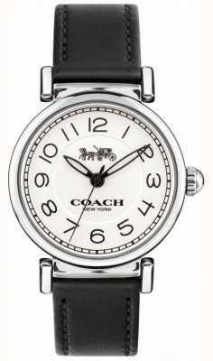 Coach Womens madison montre bracelet en cuir noir cadran blanc 14502860