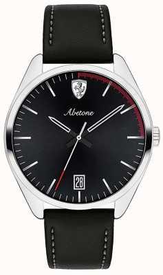 Scuderia Ferrari Montre à bracelet en cuir noir pour homme avec cadran noir 0830501