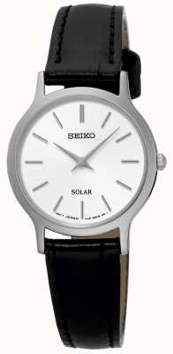 Seiko Montre bracelet solaire en cuir noir pour femme SUP299P1