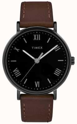 Timex Bracelet sud en cuir marron clair 41mm pour homme TW2R80300D7PF
