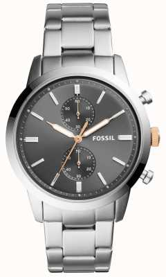 Fossil Bracelet homme en acier inoxydable avec cadran gris FS5407