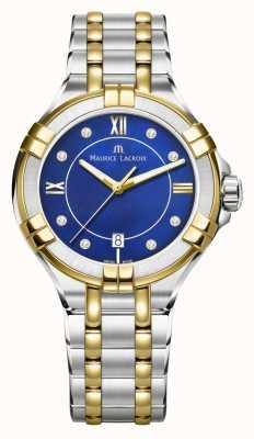 Maurice Lacroix Aikon 35 mm en acier inoxydable bicolore bleu électrique pour femme AI1006-PVY13-470-1