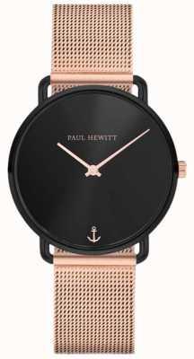 Paul Hewitt Unisex mademoiselle ligne océan 32mm cadran noir en or rose maille PH-M-B-BS-4S