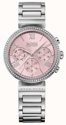 Boss Bracelet en acier inoxydable lunette sertie de cristaux cadran rose 1502401